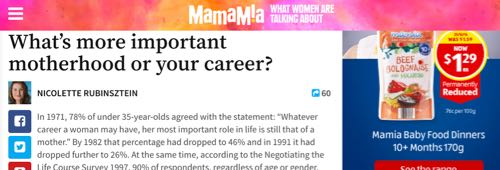 Mamamia - What's more important motherhood or your career?