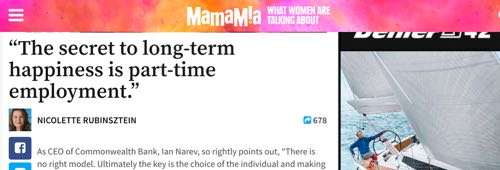 """Mamamia - """"The secret to long-term happiness is part-time employment."""""""