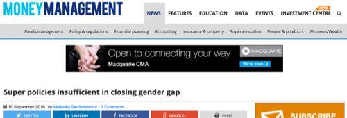 Money Management - Super policies insufficient in closing gender gap